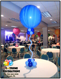 3ft Super Agate Marble balloon centerpiece