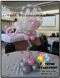 colorful balloon centerpiece