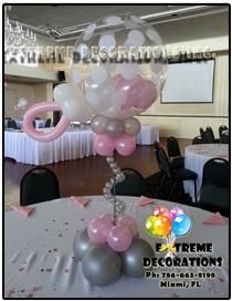 Baby Shower - Baby Rattle balloon centerpiece