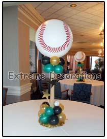 Baseball team balloon centerpiece