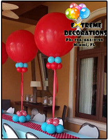 3ft Red balloon centerpiece - Miami Party Decorations