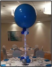 black - gold - silver balloon centerpiece