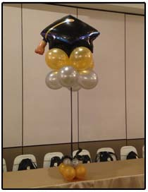 Graduation cap balloon centerpiece