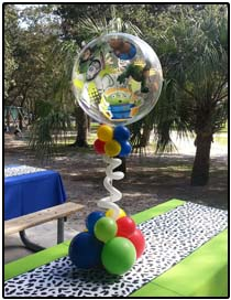 Toy Story clear bubble balloon centerpiece
