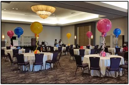 multicolor balloon topiary - party centerpiece